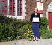 Vanessa and the Museum garden after winning a RHS and Cumbria in Bloom Award